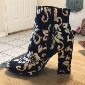 : Bamboo : Black and Gold floral heel ankle boots